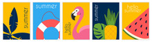 Set Of Summer Pictures. Flamingo, Lifebuoy, Leaves, Plants, Watermelon, Pineapple. Collection Of Bright, Sunny Images. Website Graphic Elements. Flat Vector Illustration Isolated On White Backdrop