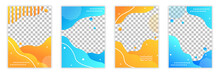 Design Bright Templates. Graphic Elements For Invitation And Greeting Cards. Colorful Abstract Stains. Choosing Between Orange And Blue. Vector Illustrations Isolated On Transparent Background