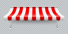 Shop Sunshade With Metal Mount. Realistic Red Striped Cafe Awning. Outdoor Market Tent. Roof Canopy. Summer Street Store. Vector Illustration.