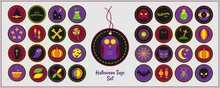 Set Of Halloween Tags Isolated On White. Owl, Hat, Flask, Stars, Candle, Bone, Lollypop, Coffin, Ghost, Pumpkin, Moon, Pot, Skull, Web, Spiderweb, Bat, Cat. Vector