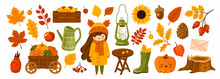 Set Of Autumn Garden Elements: Cute Girl, Apples, Pumpkins Cart, Kerosene Lamp, Foliage. Fall Harvest Season Collection For Card, Stickers, Prints, Wrapping Paper. Vector Cartoon Illustration.