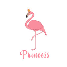 Cute Flamingo. Inscription On The Children's T-shirt Print. For Printing On A Postcard.