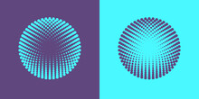 Colorful Halftone Radial Patterns. Dotty Circles Logo Design. Vector Duotone Abstract Background.