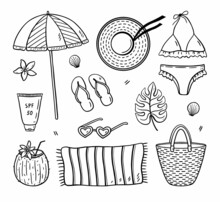 Beach Summer Set For Vacation - Female Bikini And Hat, Wicker Bag, Flip Flops, Towel, Sunscreen, Sunglasses, Beach Umbrella And Coconut Cocktail. Vector Hand-drawn Illustration In Doodle Style.