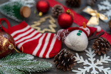Cluster Of Christmas Decoration Ornaments