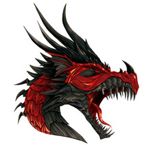 Fantasy Red And Black Dragon Angry Dragon Illustration With Shading