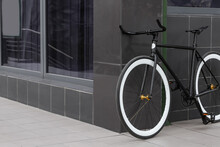 Modern Bicycle Parked On City Street