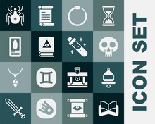 Set Ancient Magic Book, Ringing Alarm Bell, Skull, Ouroboros, Tarot Cards, Spider And Bottle With Potion Icon. Vector