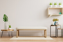 Interior Mockup Wall In Living Room Have Muji Chair And Decoration.