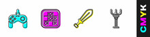 Set Gamepad, Tic Tac Toe Game, Sword Toy And Rake Icon. Vector