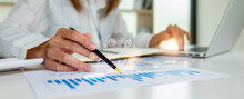 Close Up Of Business Woman Accountant Or Financial Expert Coins Double Exposure Analyze Business Report Graph Finance Chart Corporate Finance Economy Banking Business Stock Market Research Concept.
