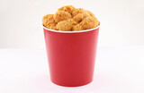 breaded fried chicken legs bucket isolated on white background2