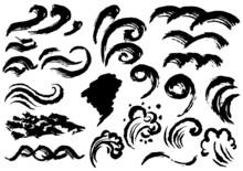 筆で書いた波のアイコンセット