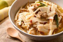 Local Thai Food, Fermented Bamboo Shoot Spicy Soup With Pork In A Bowl