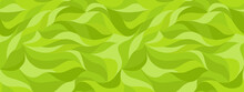 Green Grass Stylized Cartoon Background. Curly Waves Tracery, Curved Lines. Green Leaf, Seamless Texture, Abstract Petals Pattern. Vector Wallpapers For Printing On Paper Or Fabric.