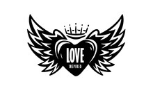 Drawn Vector Illustration Of A Heart And Wings On A White Background
