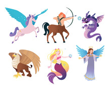 Ancient Greek Monsters Flat Vector Illustrations Set. Mythical Creature Characters, Centaur, Pegasus, Mermaid, Dragon, Angel, Griffin Isolated On White Background. Mythology, Magic, Fantasy Concept