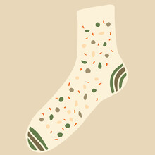 One Cute Wool Sock With A Polka Dot Pattern. Winter And Autumn Shoes. Vector Illustration Of A Flat Design.
