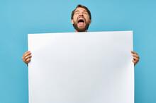 Bearded Man White Banner In Hand Blank Sheet Presentation Blue Background