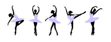 A Set Of Silhouettes Of A Ballet Dancer Dancing In Various Poses And Positions
