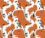 Fototapeta Dinusie - Cartoon seamless pattern with dinosaurs and palm trees. Vector illustration for kids. Use for print design, surface design, fashion kids wear