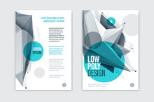 Low Poly Abstract Form Isolated Creative Cover, Vector Future Shape Design Polygonal Art Brochure, Dimensional Geometric Dynamic Tech Theme, With Mesh Lines.