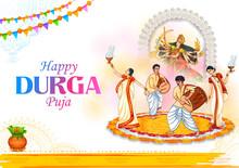 Goddess Durga Face In Happy Durga Puja Subh Navratri Indian Religious Header Banner Background