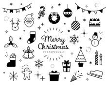 クリスマスのアイコンのセット かわいい サンタクロース トナカイ クリスマスツリー プレゼント