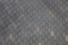 Sidewalk Tile, Top View. Pattern Of Diamond, Rhombus On The Pavement. Backdrop Image