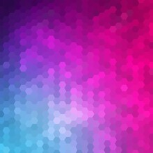 Blue And Pink Hexagon Background. Geometric Design. Polygonal Style. Presentation Template. Eps 10