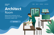 Architect's Room, Someone Is Drawing A Floor Plan Of A Building, Perspective Isometric Vector Design Concept