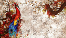 Firebird Drawn In Art Style, Sitting On A Branch On A Textured Background, Photo Wallpaper In The Room