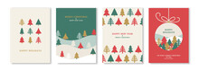 Merry Christmas And New Year Posters Set With Winter Abstract Triangle Fir Trees. Vector Illustration. Greeting Cards, Minimal Noel Corporate Design Templates, Invitation Or Flat Icons Background