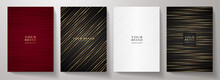 Contemporary Cover Design Set.  Luxury Dynamic Diagonal Line Pattern In Premium Color: Black, Gold, Red, White. Stripe Vector Layout For Business Background, Certificate, Brochure, Menu Template