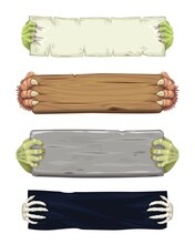 Vampire, Werewolf, Skeleton And Zombie Cartoon Hands With Banners And Scrolls. Halloween Monsters Characters Fingers With Talons Holding Parchment Scroll, Wooden Plank And Stone Plate, Piece Of Fabric