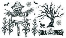 Halloween Vintage Monochrome Elements Concept