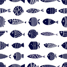 Cute Blue Fish. Kids Background. Seamless Pattern. Can Be Used In Textile Industry, Paper, Background, Scrapbooking.