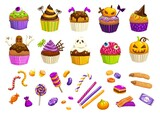 Cartoon Halloween sweets, cupcakes and witch fingers, candy corns lollipops and chocolate desserts, vector. Halloween trick or treat candies and cakes with pumpkin biscuit and tombstone pudding