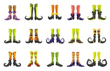 Cartoon Legs Of Fairy Witch Sorceress Or Elf And Enchantress, Vector Gnome Boots. Halloween Witch Legs In Striped Stockings And Shoes With Buckles, Fairy Hag Or Hex Sorceress Magic Boots