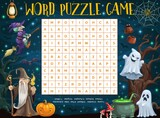 Halloween word puzzle worksheet with cartoon sorcerer, witch, pumpkin and ghosts. Kids word quiz or riddle game grid with Halloween horror ghosts, spiderweb and bats, evil wizard and potion cauldron