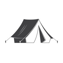Camping Tent Silhoutte On White Background. Vector Illustration. Retro Tourist Camp Tent With A Canopy, Reinforced With A Rope With A Peg. Equipment For Camping, Climbing, Hiking, Traveling