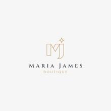 MJ Initials Monogram Logo Design Template For Luxury Fashion Boutique