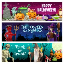 Happy Halloween Night Banners With Treats And Monsters. Devil With Trident And Witch With Broom, Mummy, Sorcerer Or Wizard, Pumpkin Jack O Lanterns, Magic Potions And Holiday Sweets Cartoon Vector