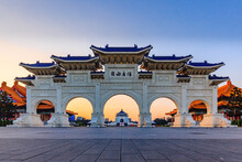 """Early Morning At The Archway Of Chiang Kai Shek Memorial Hall, Tapiei, Taiwan. The Meaning Of The Chinese Text On The Archway Is """"Liberty Square""""."""