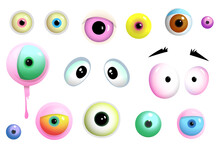 Cartoon Cute Eyes Of Monsters And Creatures, Different Shapes And Colors. Collection Of Isolated Different Monsters Eyes Stickers. Vector Cartoon For Kids.