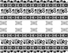 Woodblock Printed Seamless Ethnic Floral Geometric Border. Traditional Oriental Ornament Of India Kashmir, Flowers Wave Motif, Black On White Background. Textile Design. Royalty Free Cliparts