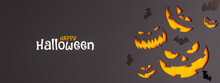 Happy Halloween Concept Background With Laughing Carved Pumpkins And Flying Bats 3D Rendering, 3D Illustration