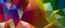 Multicolor Abstract Background Banner Of Triangles , All The Colors Of The Rainbow