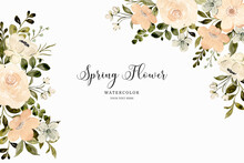 White Peach Flower Spring Background With Watercolor