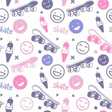 Vector Illustration Of Flying Skateboard With Pink Smile And Wor